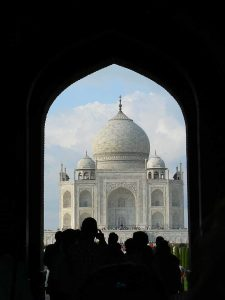 Taj Mahal Framed by arch.